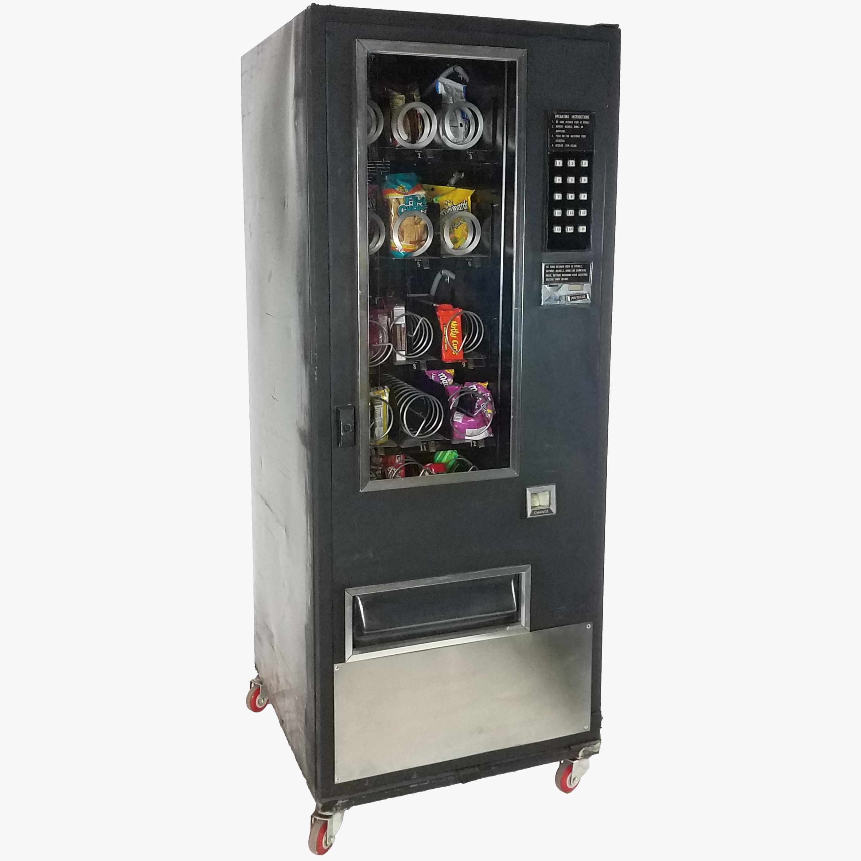 vending machine snack candy black silver narrow air designs