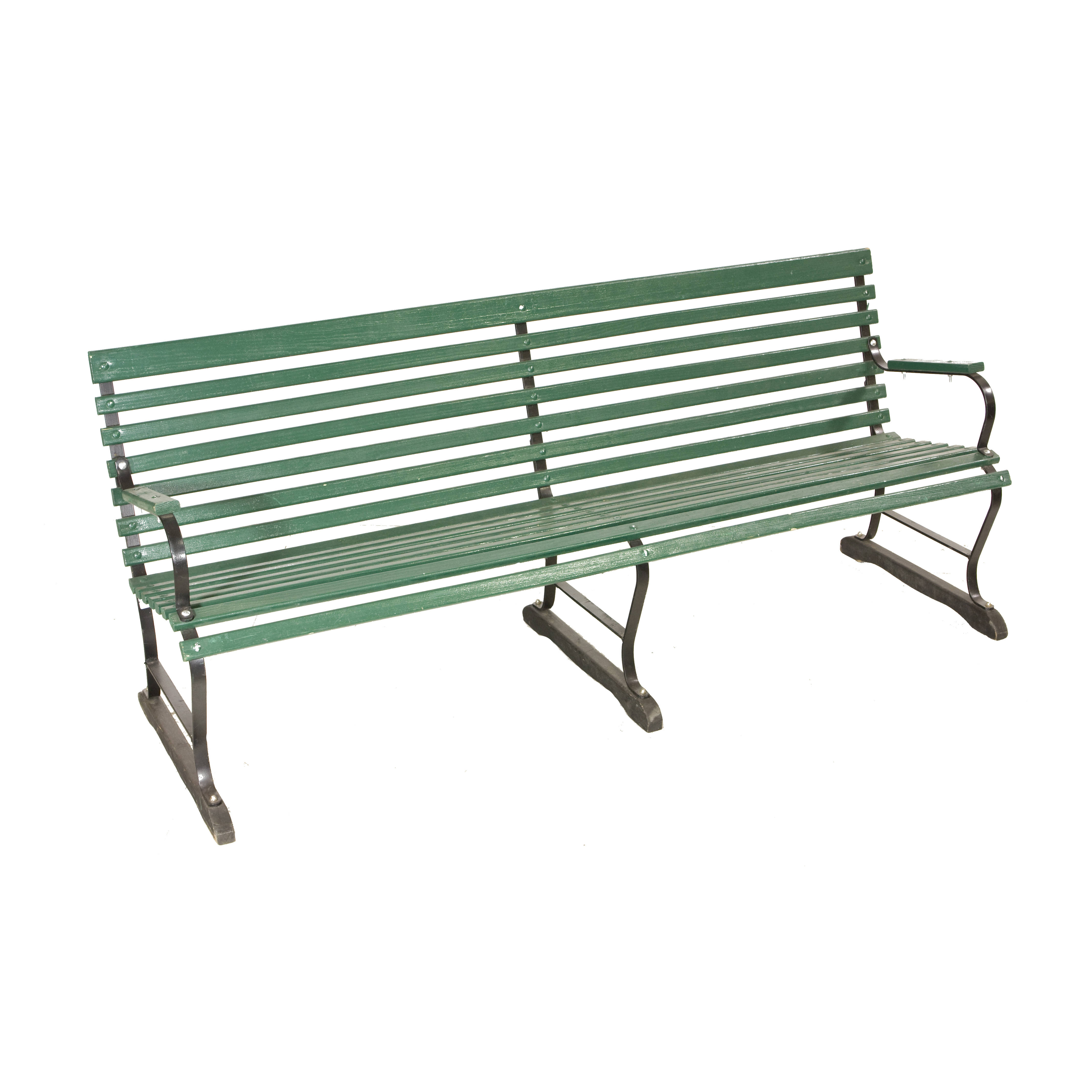 Bench Slatted Green Black 72 Air Designs