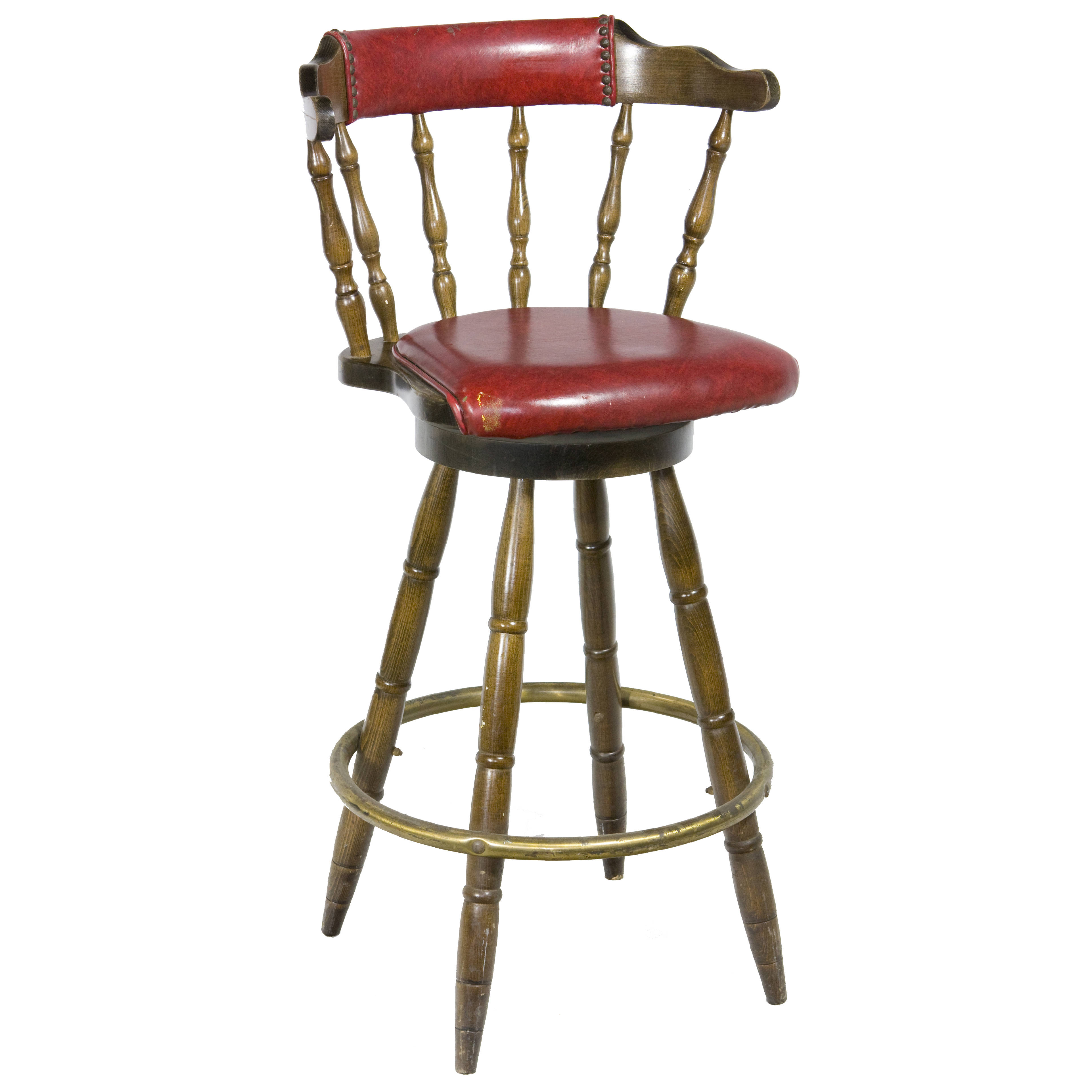 STOOL / CAPTAINS CHAIR / DARK WOOD W/ RED W/ BACK