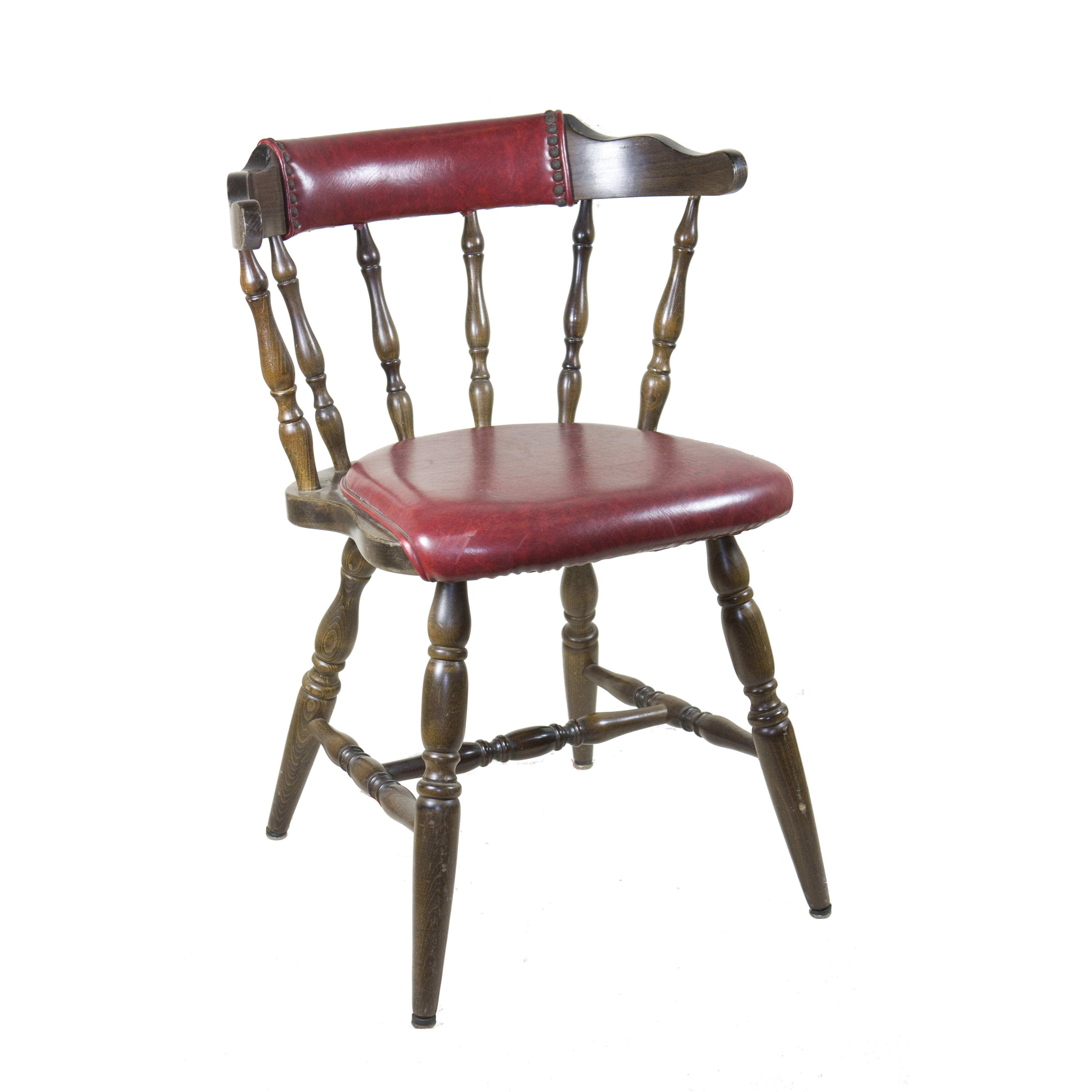 CHAIR / CAPTAINS CHAIR / DARK WOOD U0026 RED