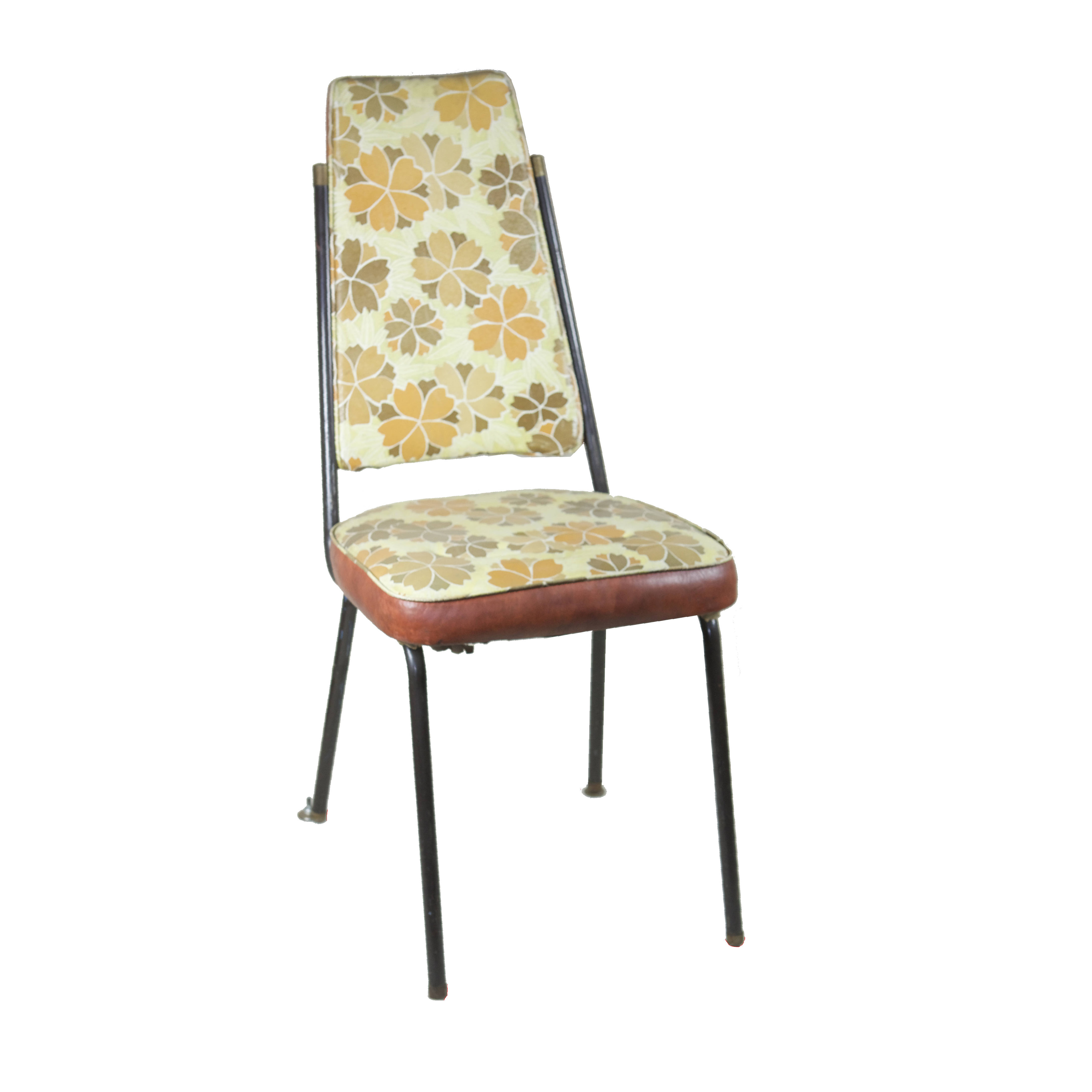 Chair 60s style yellow floral pattern air designs for Sixties style chairs