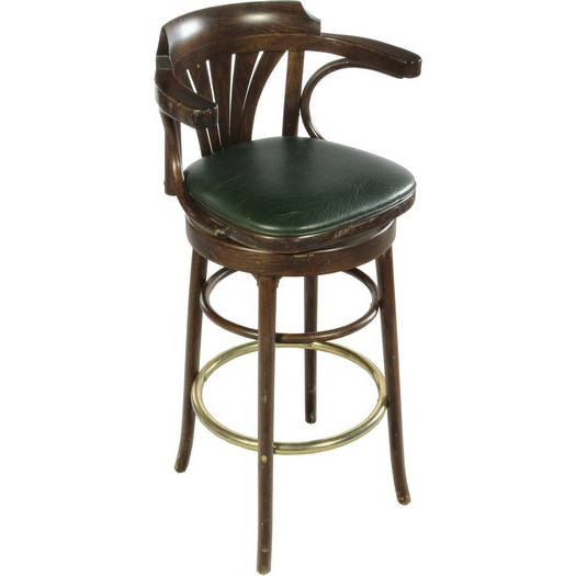 STOOL / ART DECO / GREEN & DARK WOOD W/ BACK | Air Designs
