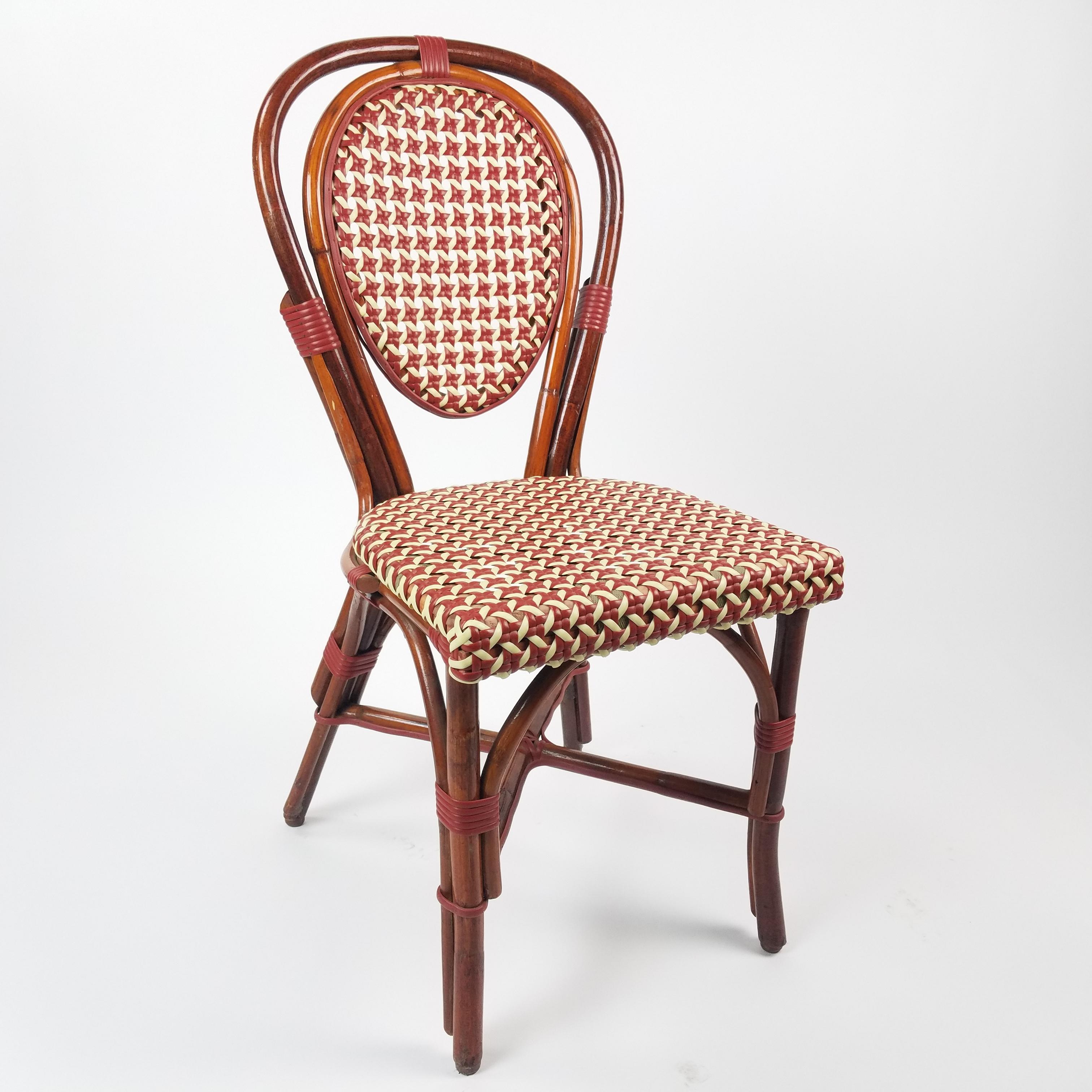 Chair bentwood rattan bistro maroon cream air designs - Cane bistro chairs ...