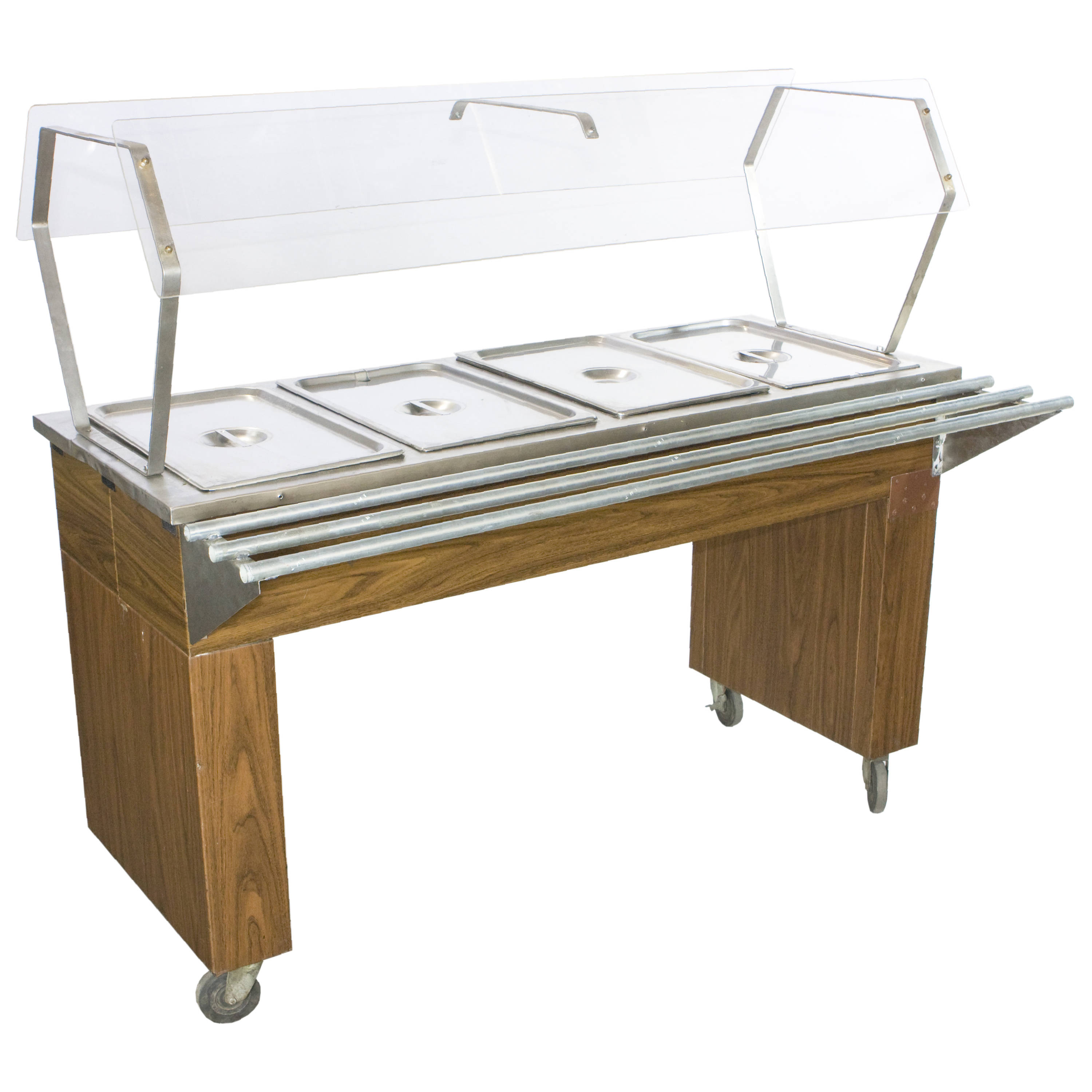 CAFETERIA STEAM TABLE W TRAY RAIL SNEEZE GUARD Air Designs - Cafeteria steam table