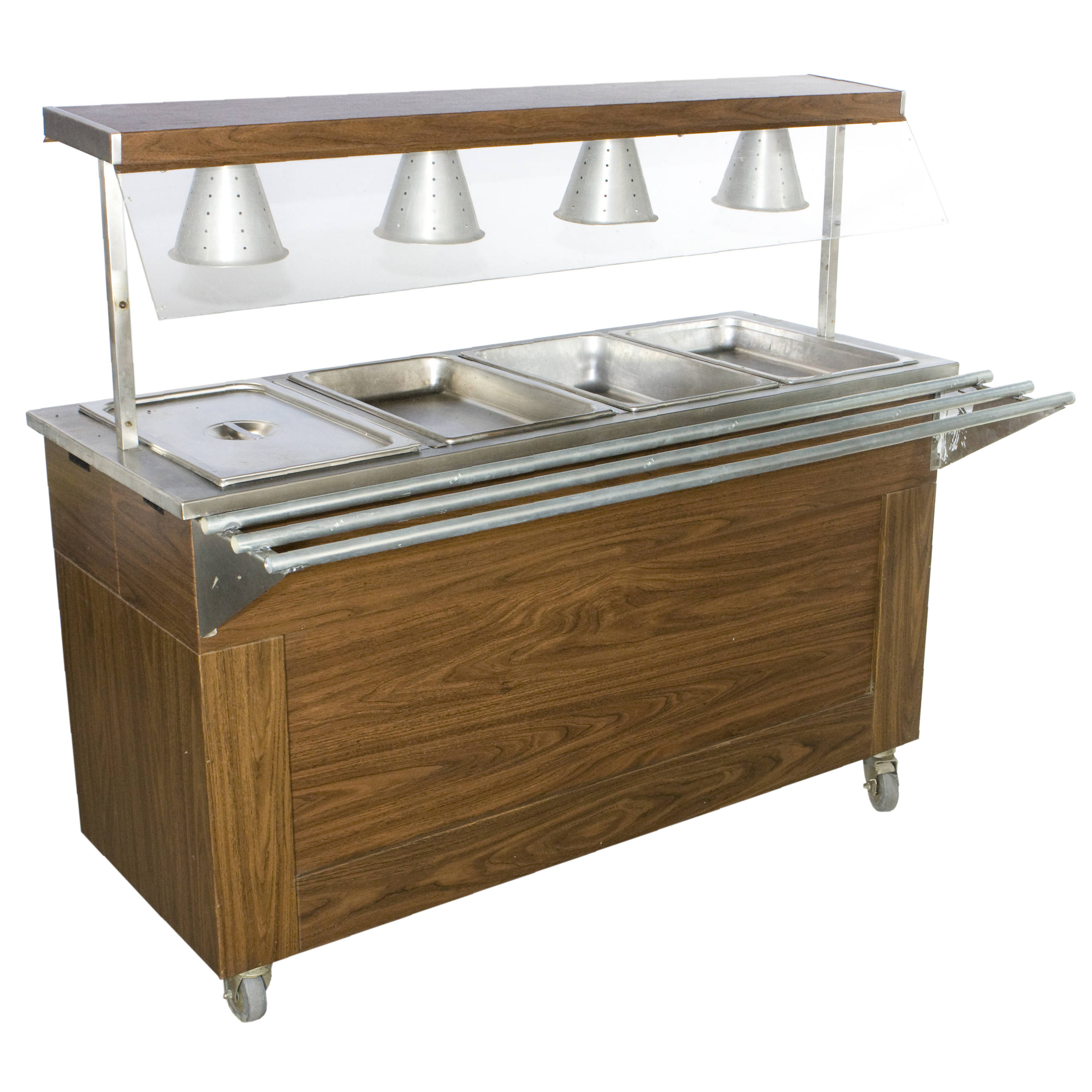 CAFETERIA STEAM TABLE W TRAY RAIL AND HEAT LAMPS Air Designs - Cafeteria steam table