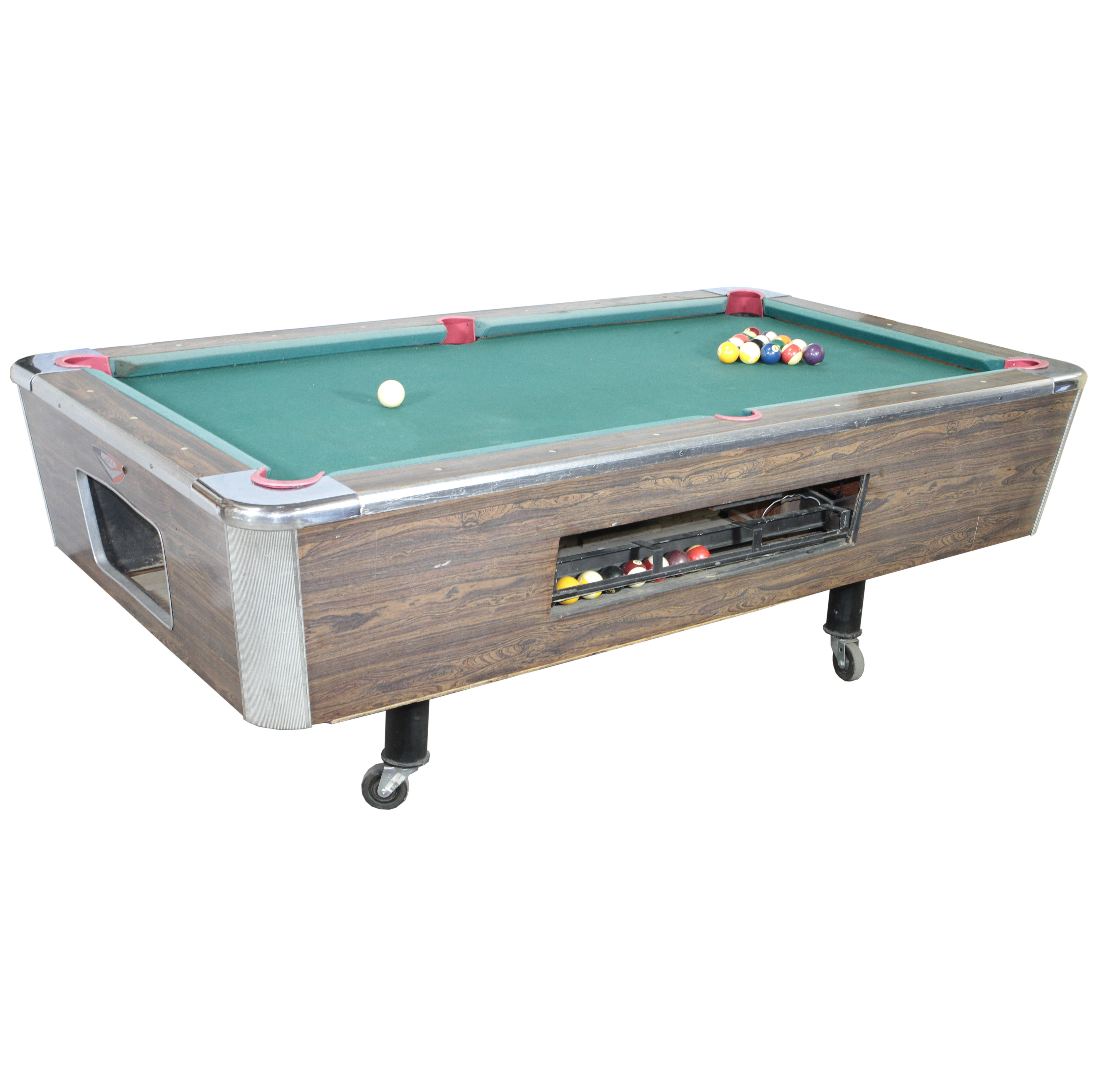 POOL TABLE / COIN-OP W/ CUES AND BALLS