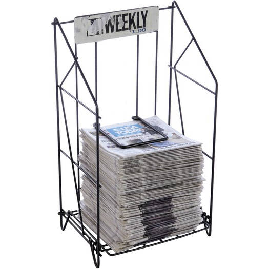 Newspaper rack 1 Mini Newspaper Wire Rack Shelf La Weekly Black Air Designs Newspaper Wire Rack Shelf La Weekly Black Air Designs