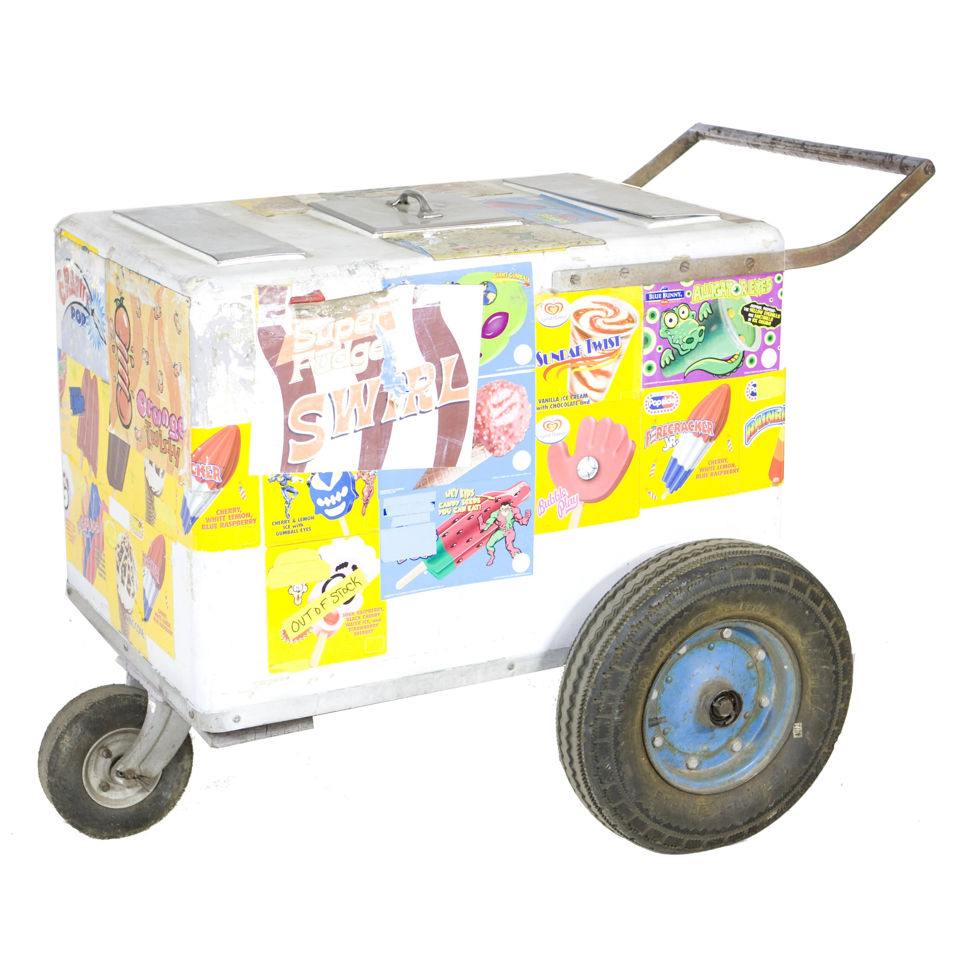 Ice Cream Push Cart W Blue Wheels Air Designs